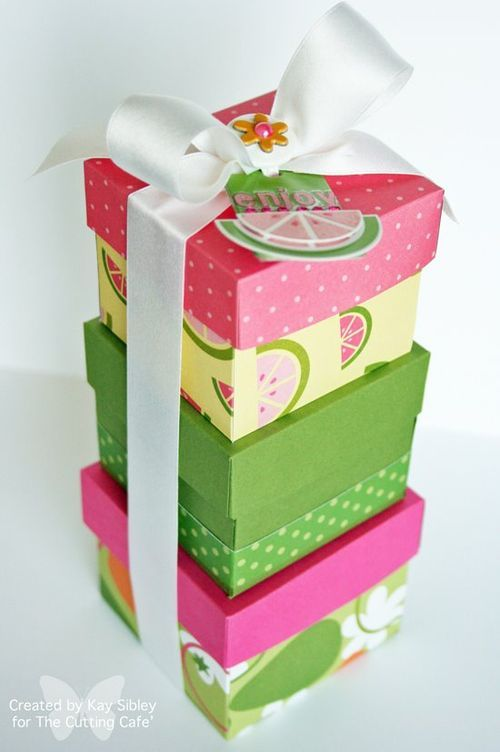 Summer gift boxes  using the nesting boxes  Kay Sibley  http://thecuttingcafe.typepad.com/the_cutting_cafe/2009/07/3-nesting-boxes-cutting-filestemplates.html