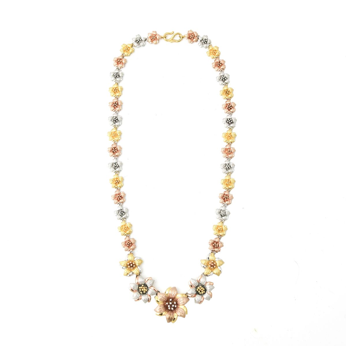 Rose yellow u white gold k gold floral necklace c s or