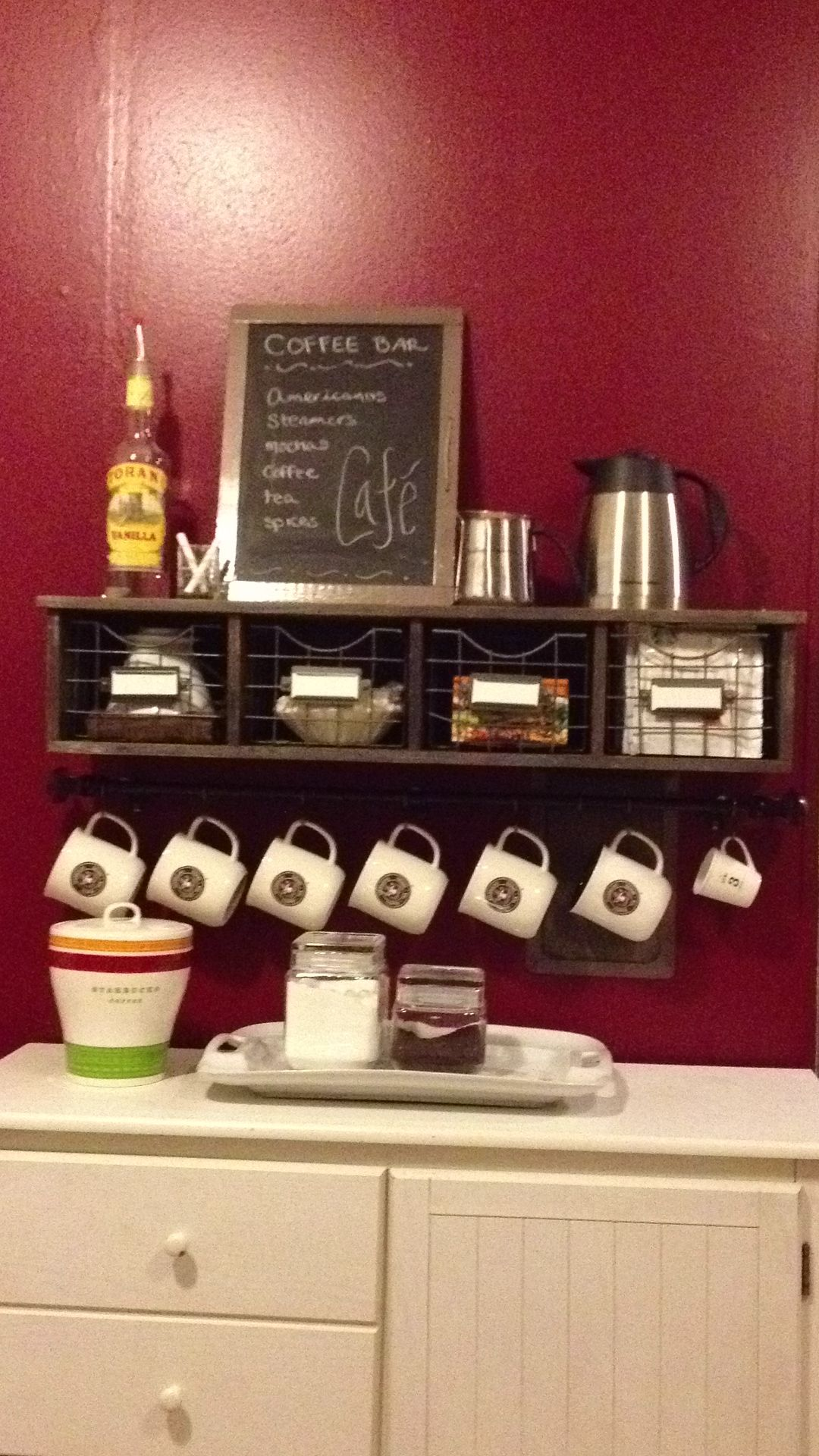In Love The Chalk Board Idea Looks So Vintage I Am Going To Get One For My Coffee Bar And Write The Names Of The K Cu Coffee Bar Home Coffee Bar