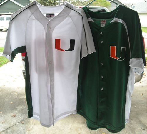 hot sale online 3c8fd 6bbd5 Lot of 2 Miami Hurricanes Baseball Jerseys Home   Away Both  10 Adult Small   17.99