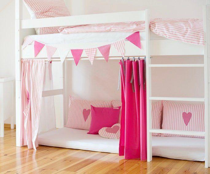 4 Hochbettvorhänge pink, rosa, weiß Kinderzimmer