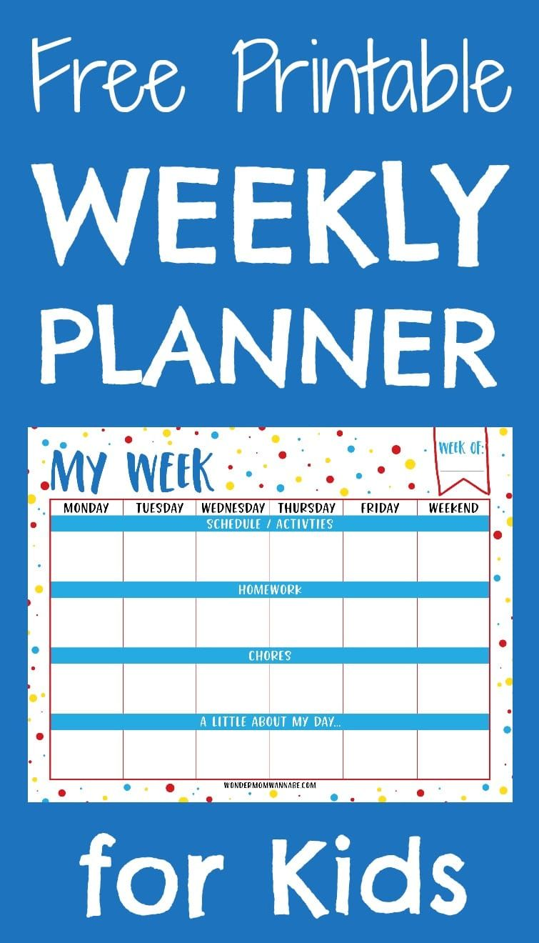 Free Printable Weekly Planner For Kids Weekly Planner Free