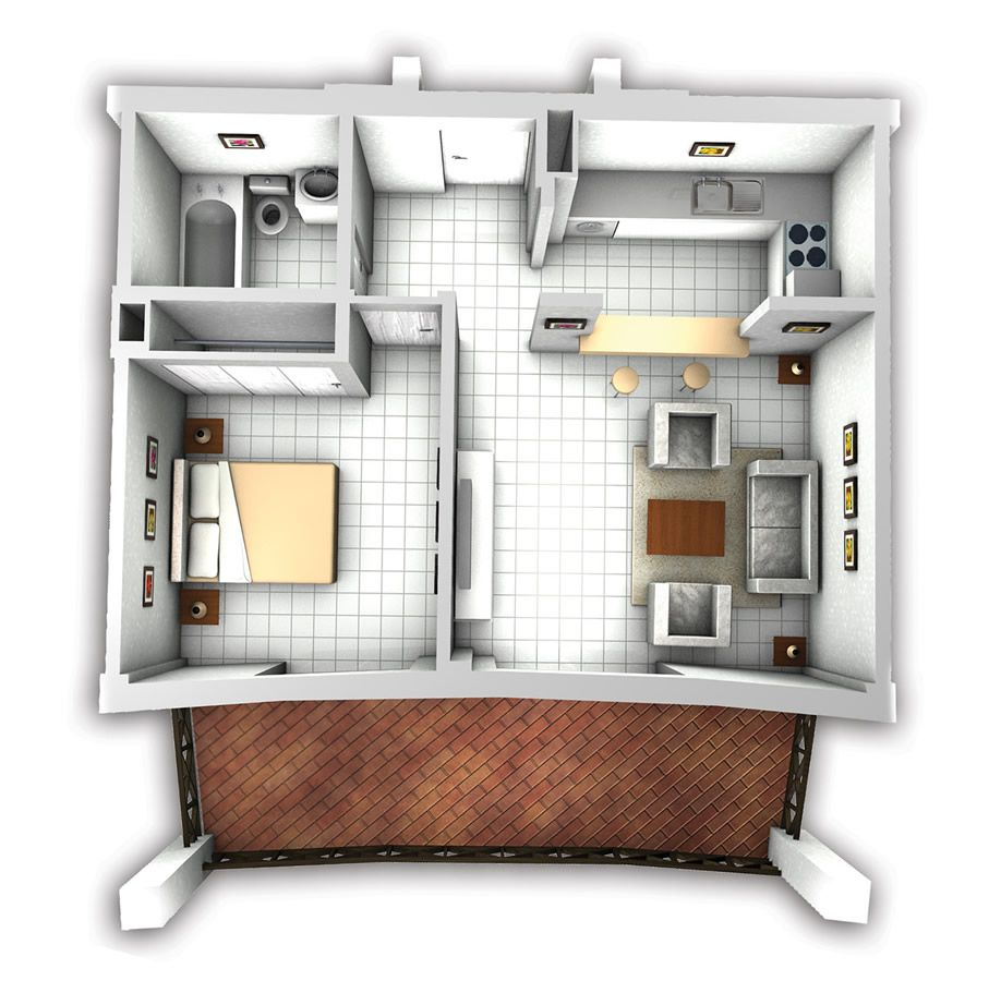 Mockup With Furniture Tiny House Cabin Apartment Floor Plans House Plans