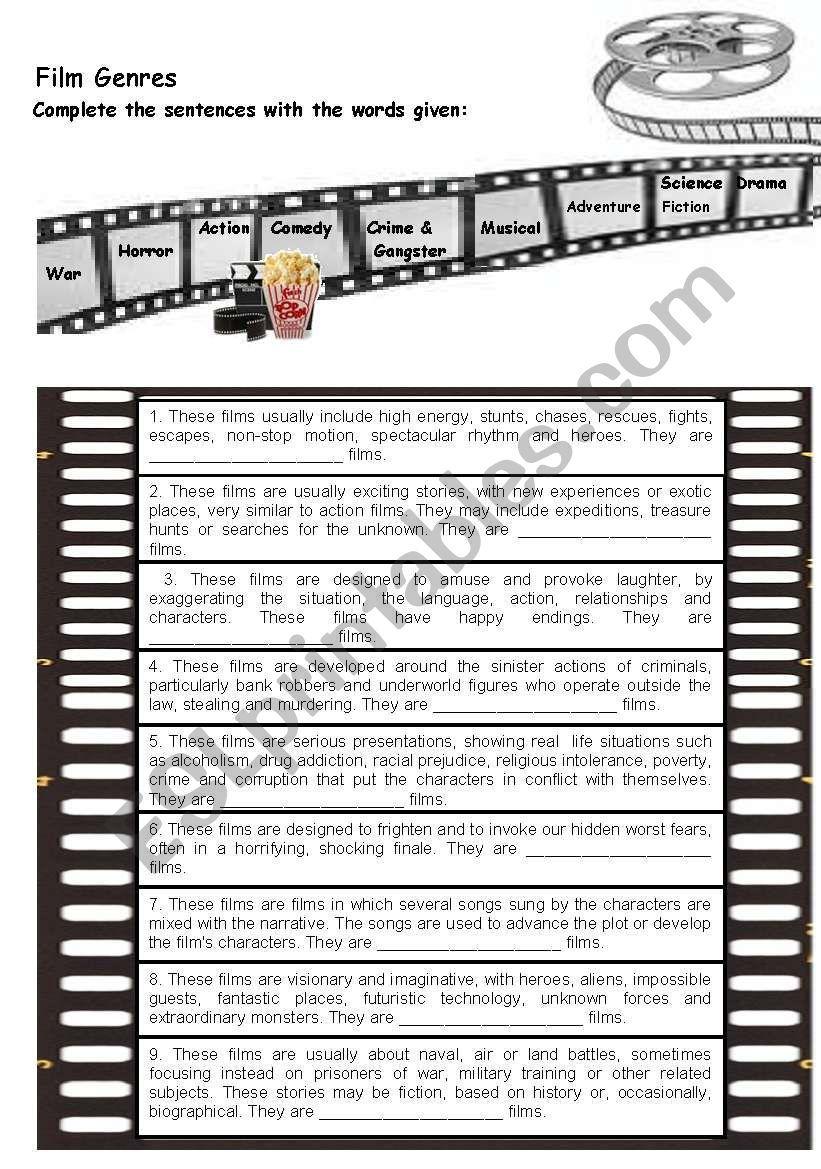 Very Easy Worksheet About Types Of Films Film Genres Film Genres
