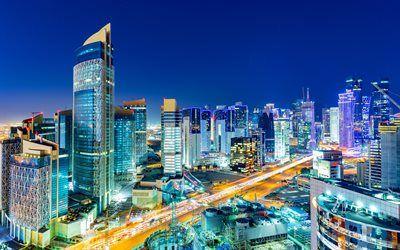 Telecharger Fonds D Ecran Doha 4k Gratte Ciel Les Paysages Nocturnes Qatar Besthqwallpapers Com Paysage Nocturne Gratte Ciel Qatar