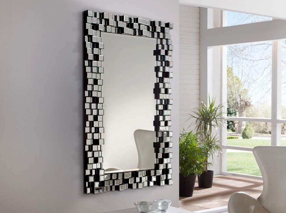 Moderner kristallspiegel cosmo dekoration beltr n ihr for Espejos rectangulares plateados
