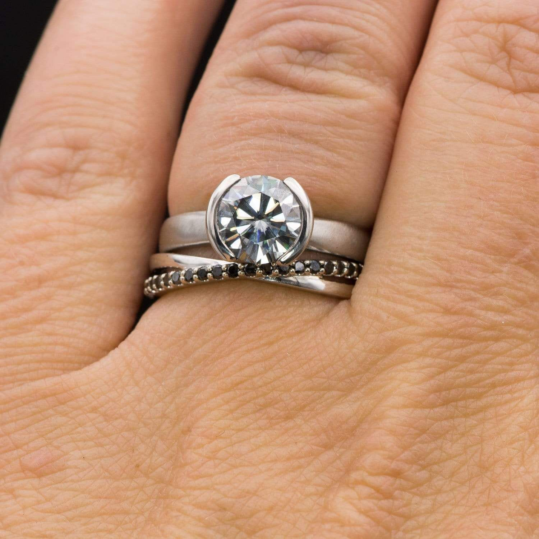 Criss Cross Black Diamond Band Contoured Wedding Ring