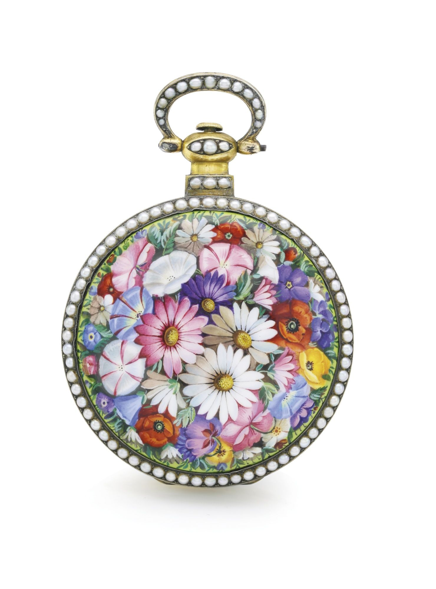 BOVET, FLEURIER A GILT METAL, ENAMEL AND PEARL-SET CENTRE SECONDS WATCH MADE FOR THE CHINESE MARKET CIRCA 1860 • jewelled gilt lever movement, finely chased and engraved with foliate scrolls • glazed cuvette • white enamel dial, Roman numerals, outer minute divisions • gilt metal case, the back with polychrome enamel depicting summer flowers, both bezels and bow highlighted with split pearls • movement signed diameter 56 mm