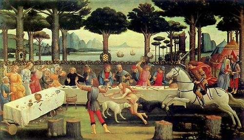 Sandro Botticelli:  The Story of Nastagio Degli Onesti - The Banquet in the Pine Forest (1483)