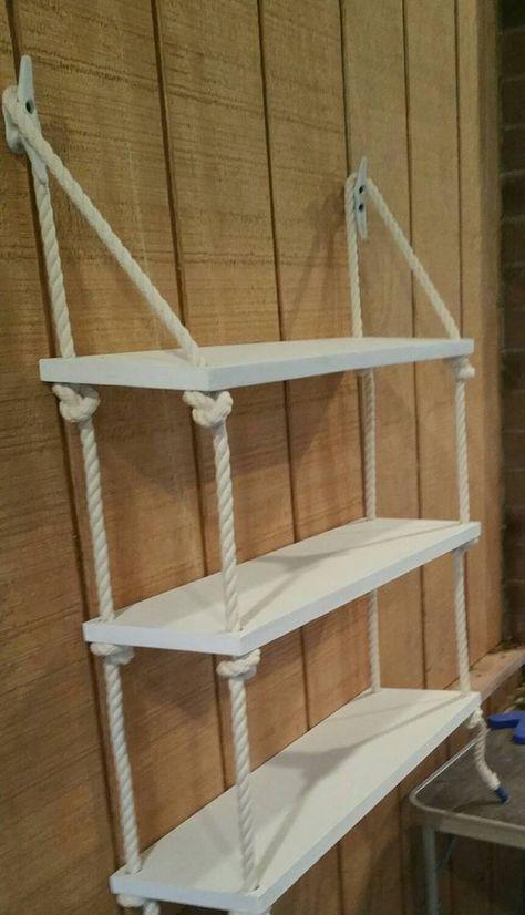 Photo of 3 Tier Nautical Rope Shelf / Rope Shelf / Nautical Shelf / Nautical Nursery / Swing Shelf / Nursery Shelf / Hanging Shelf / Shelving