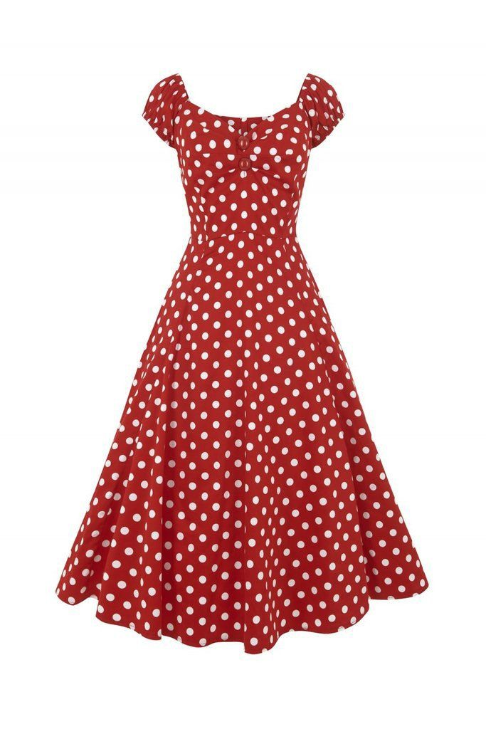 8aba0be19a0 Collectif Vintage Red and White Polka Dot Swing Dress