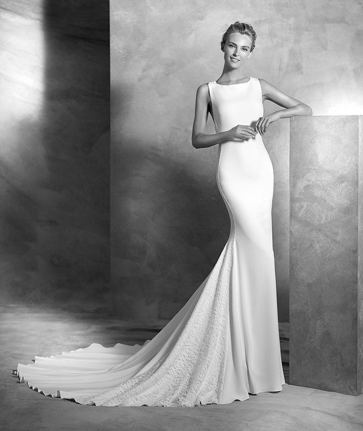Valira, schlichtes Brautkleid, U-Boot-Ausschnitt, eleganter Stil