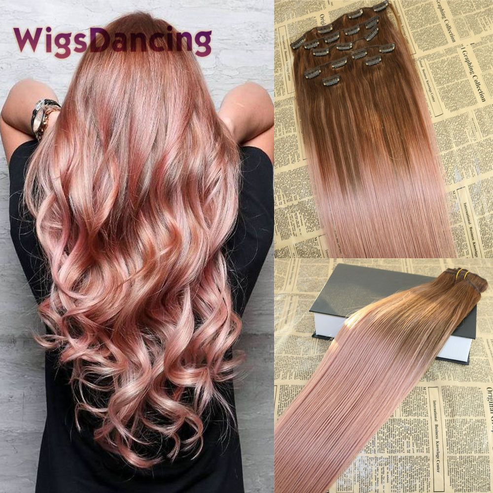 Rose Gold Balayage Clip In Remy Hair Extensions Skin Weft Virgin