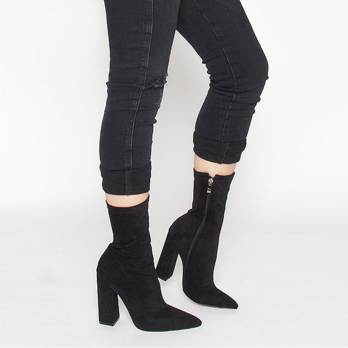 d7bd95ec439262 Gwen Black Suede Block Heel Ankle Boots   Dream Closet   Block heel ...