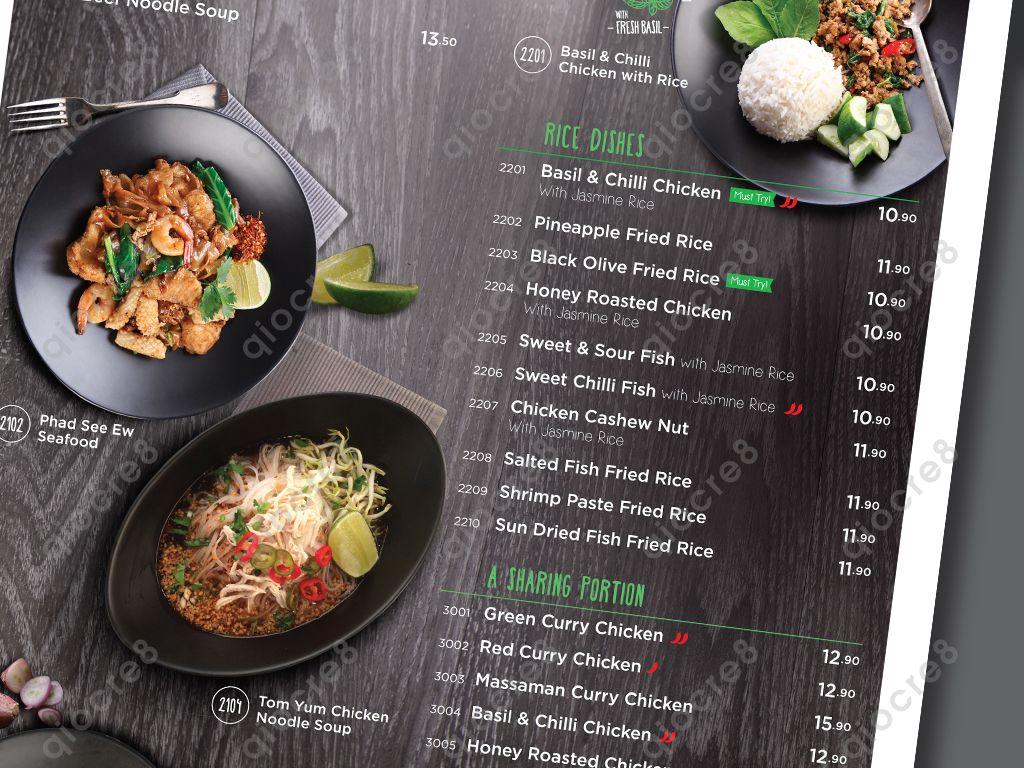 Basil Thai Kitchen Design And Layout Of Menu Sweet Chilli Rice Dishes Chilli Chicken