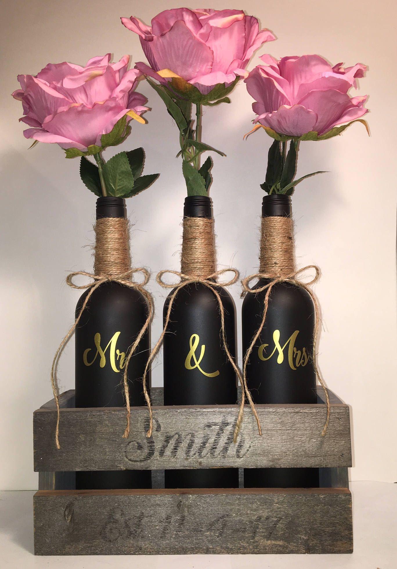 3 flat black painted wine bottles in rustic wood box add gold mr 3 flat black painted wine bottles in rustic wood box add gold mr floridaeventfo Gallery