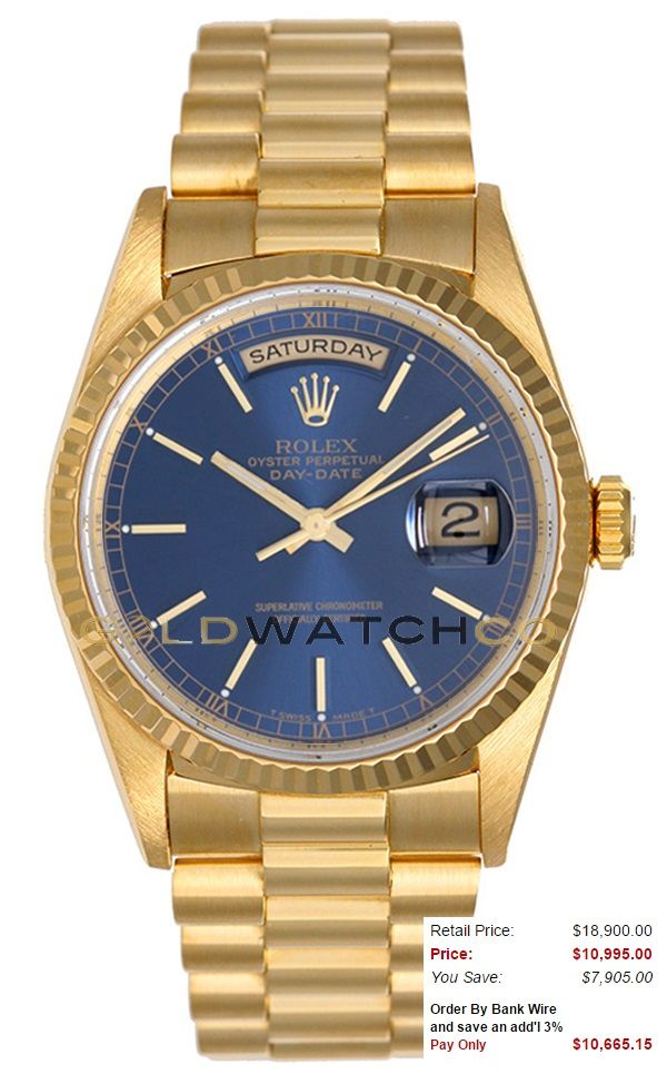 This watch is an Authentic Rolex Mens18K Yellow Gold President Day Date Model 18038 18K Gold President Band with an 18K Gold Fluted Bezel and a Blue Stick Dial. The watch is in Mint Day one condition and comes with all box, booklets, tags, and all applicable paperwork.