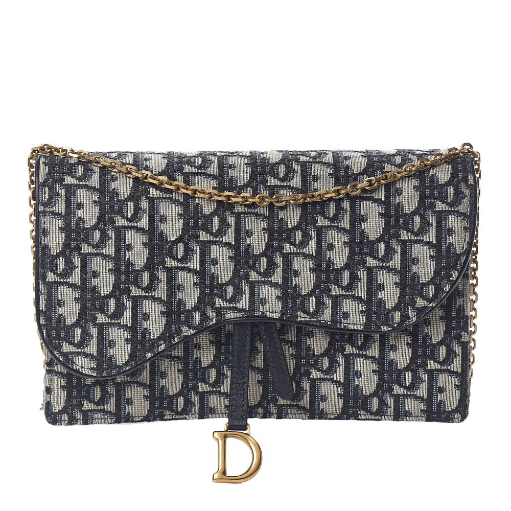 Christian Dior Oblique Saddle Chain Wallet Blue Fashionphile Wallet Chain Dior Stylish Wallets