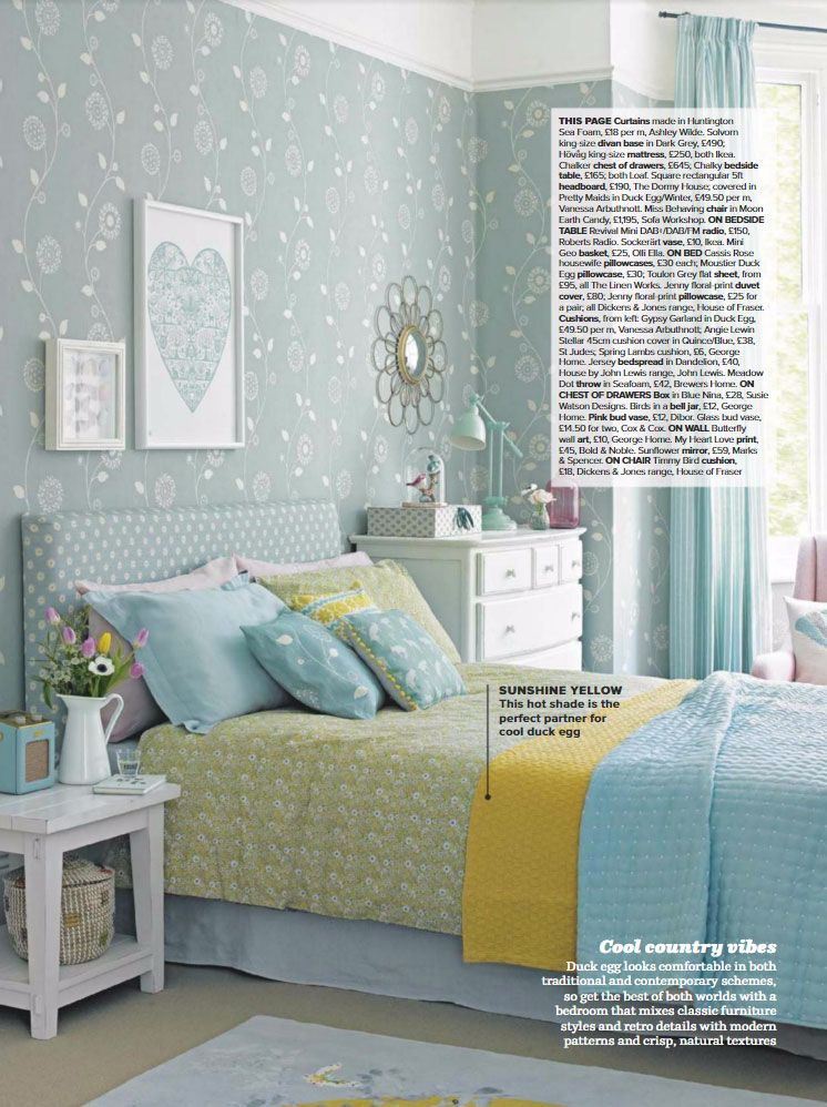 Decorating With Duck Egg And Color Schemes That Work Blue Bedroom Walls Yellow Bedroom Decor Bedroom Wall Colors