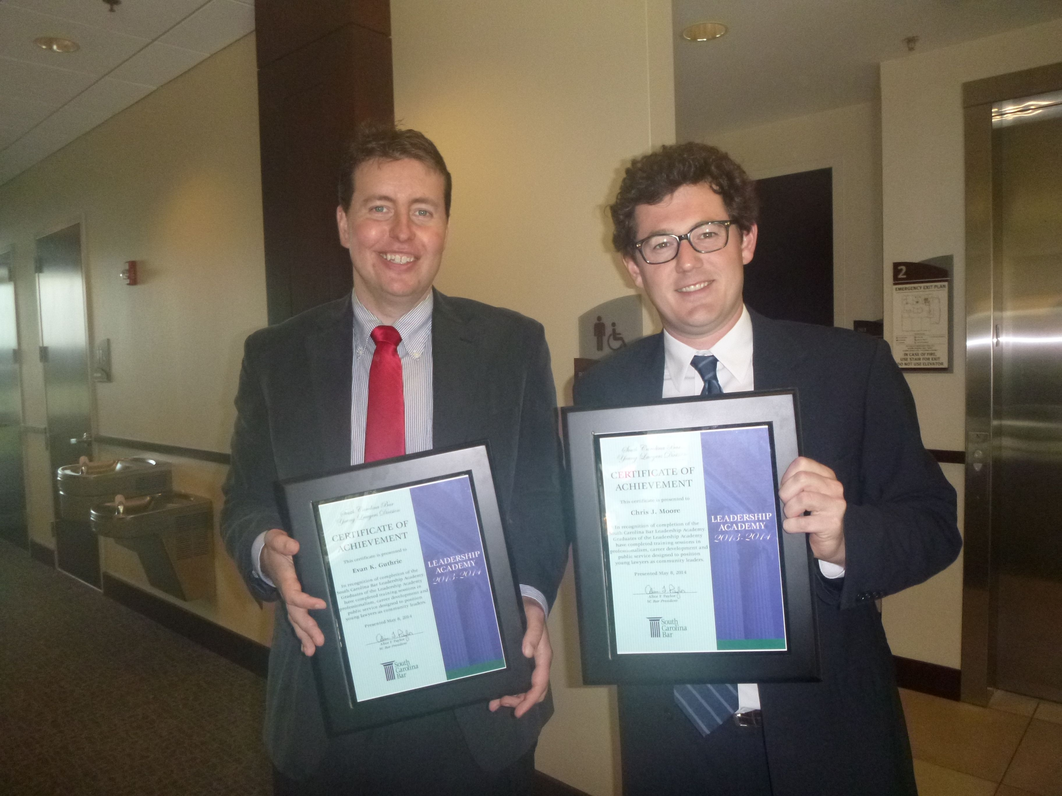 Lawyer Evan Guthrie With Chris Moore Of Richardson Patrick As The South Carolina Bar Leadership Academy Graduates New Law Certificate Of Achievement Law Firm