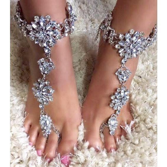 Django Beach Wedding Barefoot Sandals Crystal Rhinestone Ankle