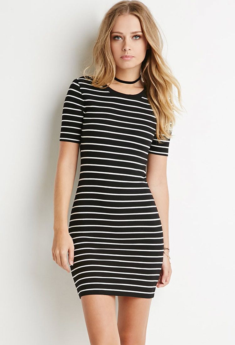95c2d34e0039 Ribbed Stripe Bodycon Dress - Dresses - 2000173341 - Forever 21 EU English