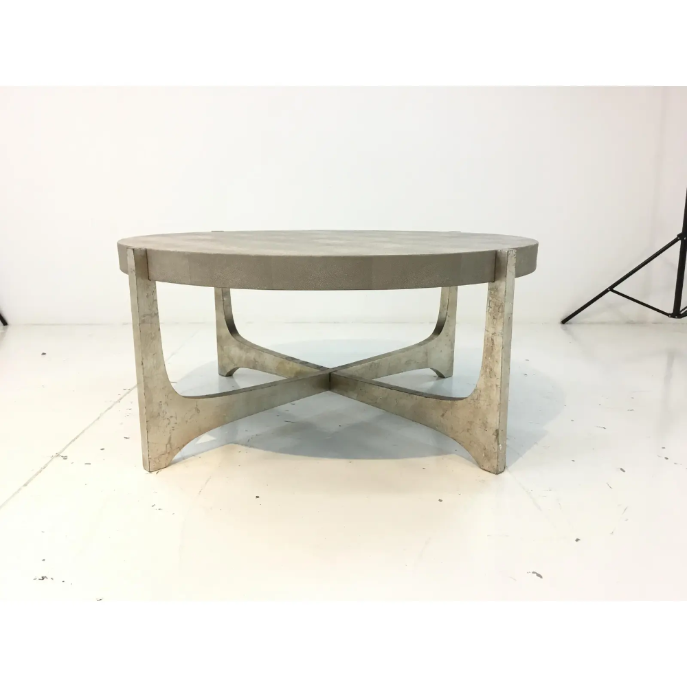 Modern Regina Andrew Gray Leather Shagreen Cocktail Table Grey Leather Modern Coffee Tables Cocktail Tables [ 1000 x 1000 Pixel ]