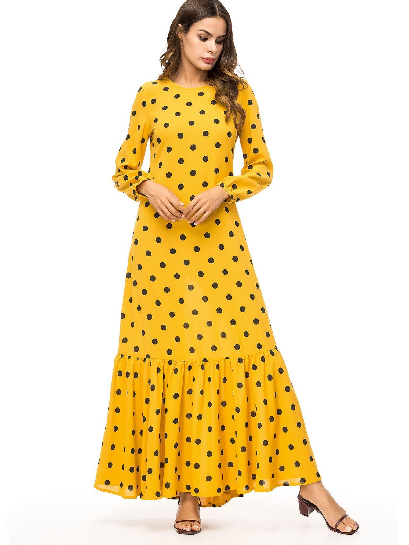 Shein Polka Dot Balloon Sleeve Pep Hem Maxi Dress Maxi Dress Dresses Sleeves [ 1785 x 1340 Pixel ]