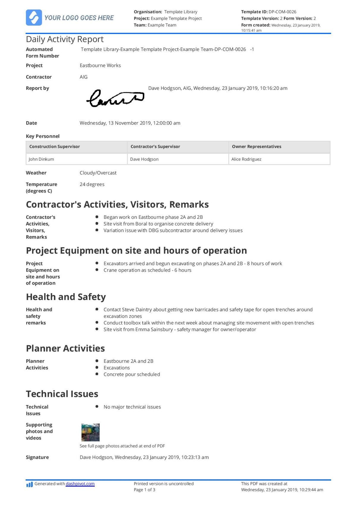 Daily Activity Report Template [Free And Better Than Excel ...