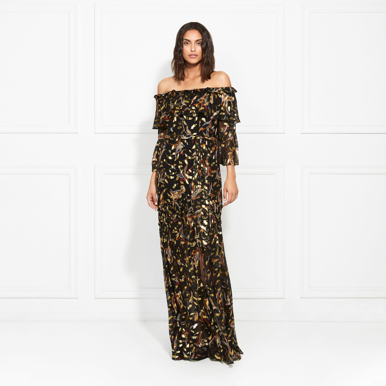 Rachel Zoe Quinn Floating Feather Metallic Fil Coupe Maxi Dress Maxi Dress Fashion Dresses [ 3000 x 3000 Pixel ]