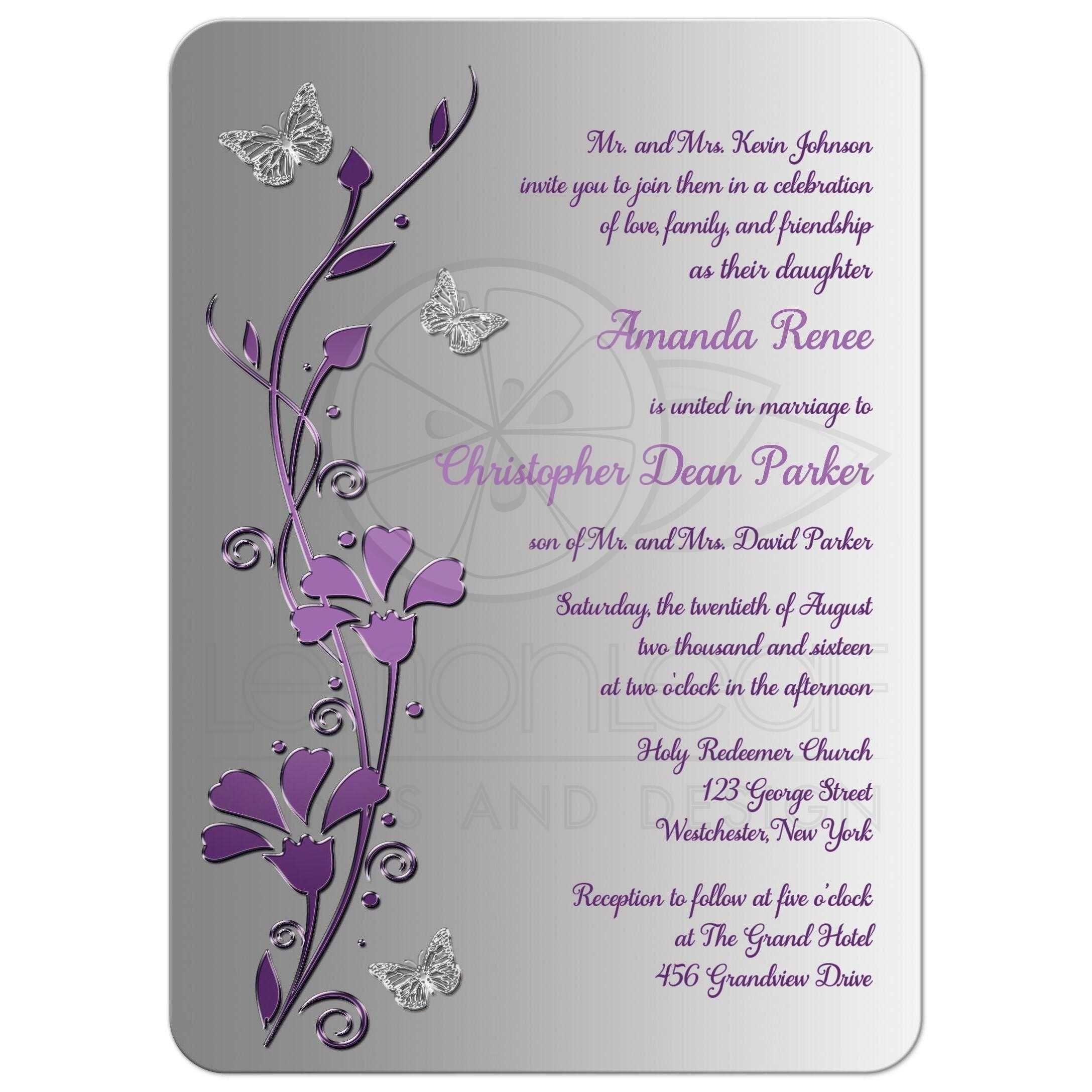 Wedding Invitation | Purple, Plum, Silver | Flowers, Butterflies ...