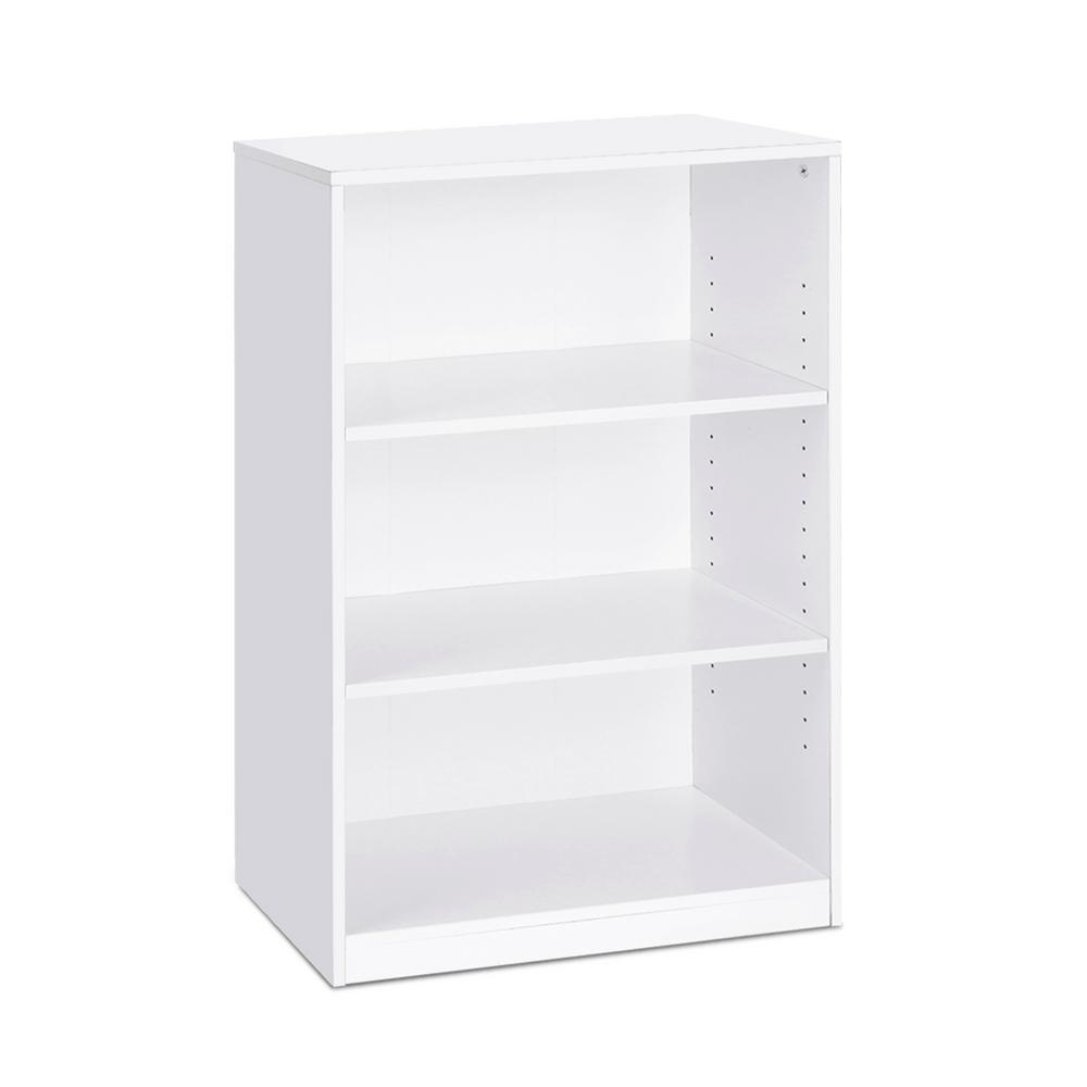 Furinno 40 3 In White Wood 3 Shelf Standard Bookcase With Adjustable Shelves 14151r1wh The Home Depot In 2020 Bookcase Adjustable Shelving White Bookcase