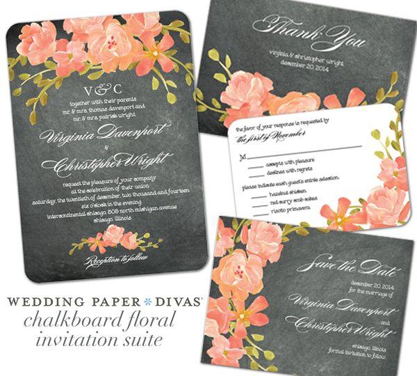 Wedding invitations by wedding paper divas wedding paper divas wedding paper divas chalkboard floral giveaway junglespirit Images