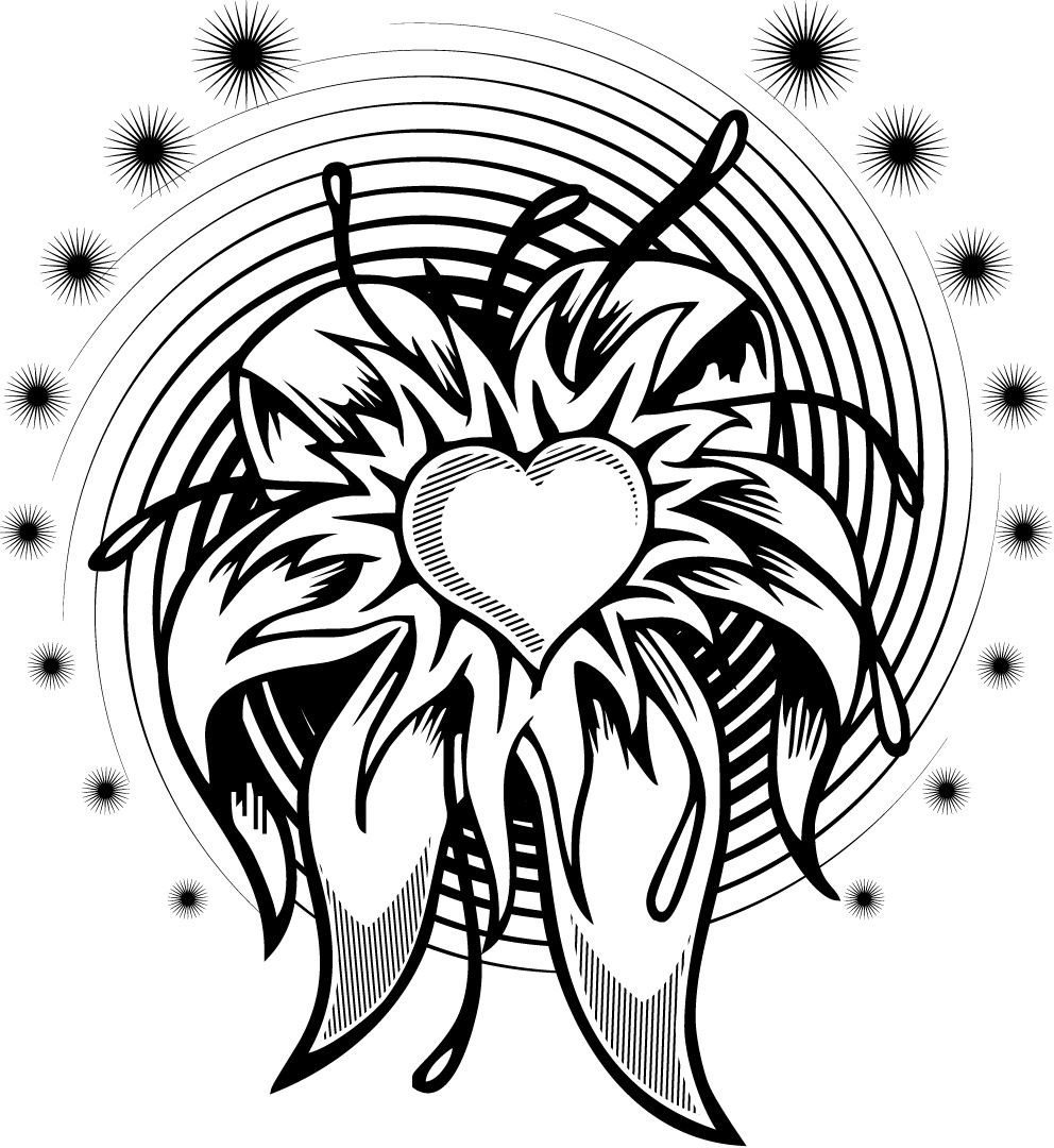 coloring page of a flower heart tattoo design with a spiral
