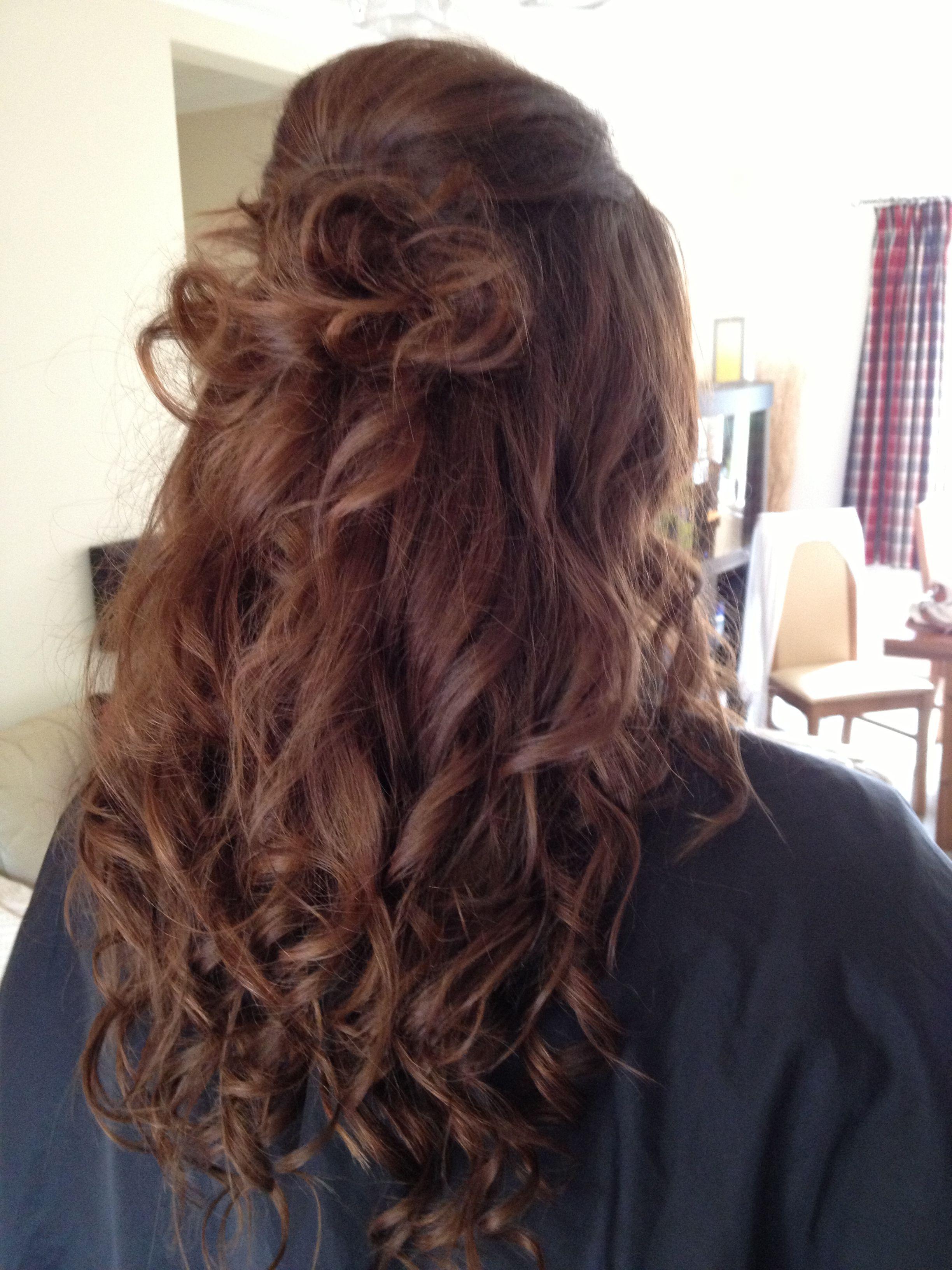 Half up half down wedding hair curls extensions
