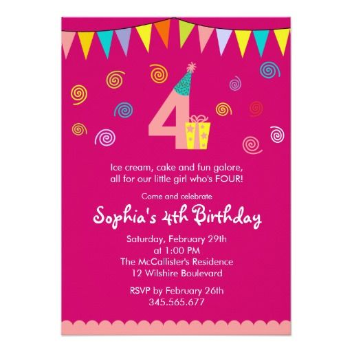 4th Birthday Girls Cute Pink Party Invitation