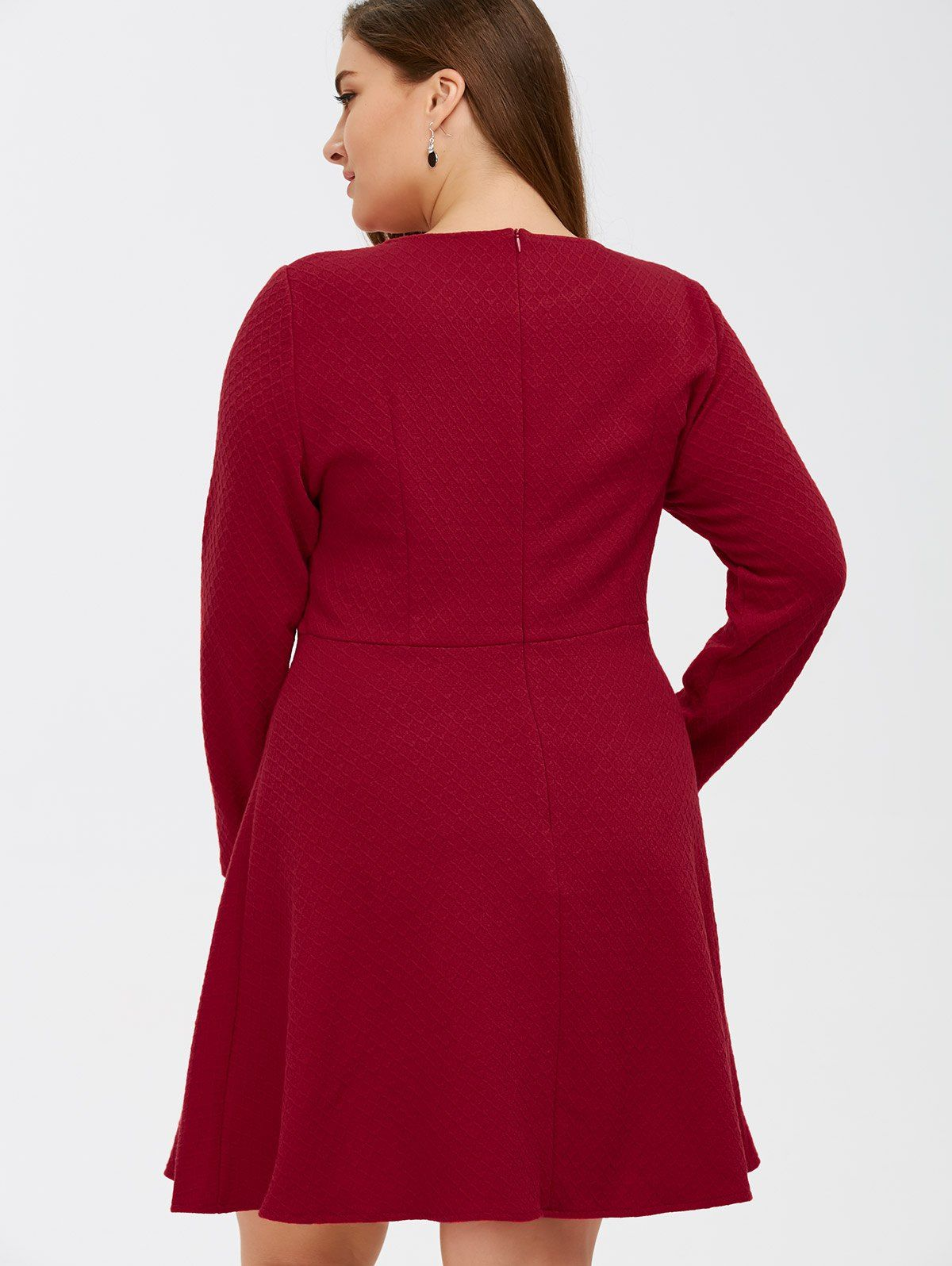 Grid Buttoned Long Sleeve Fit And Flare Dress Flare Dress Fit And Flare Dress Dresses [ 1596 x 1200 Pixel ]