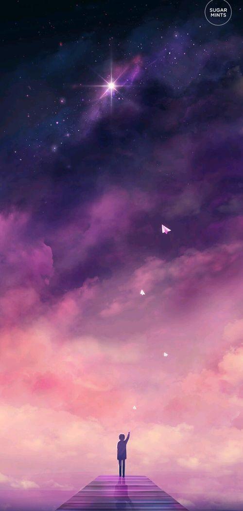 Kartinka S Tegom Boy Draw And Fly Anime Wallpaper Galaxy Wallpaper Anime Scenery
