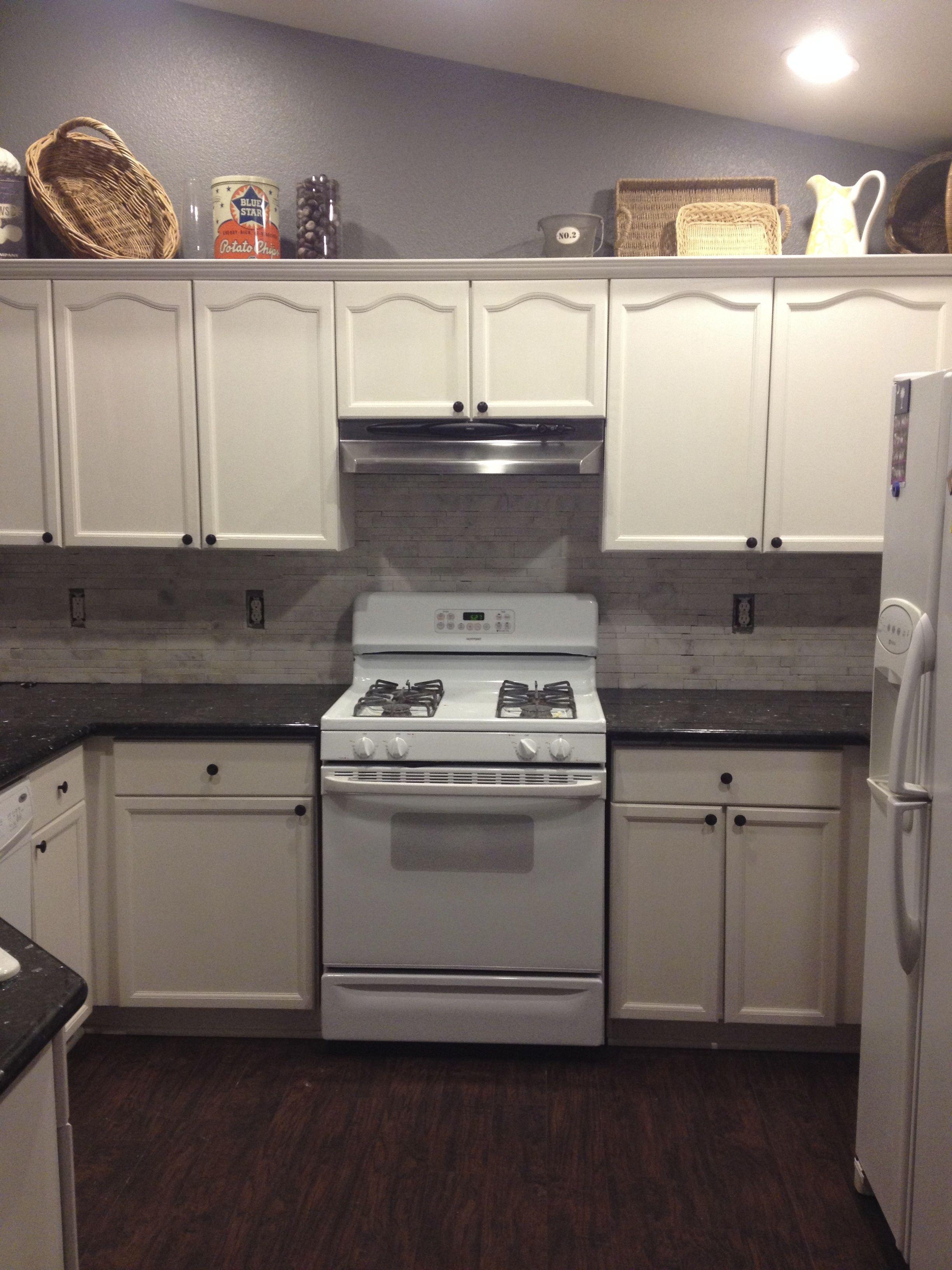 Got The New Emerald Pearl Granite Countertops Installed, Dark Hardwood  Floor, White Cabinets,
