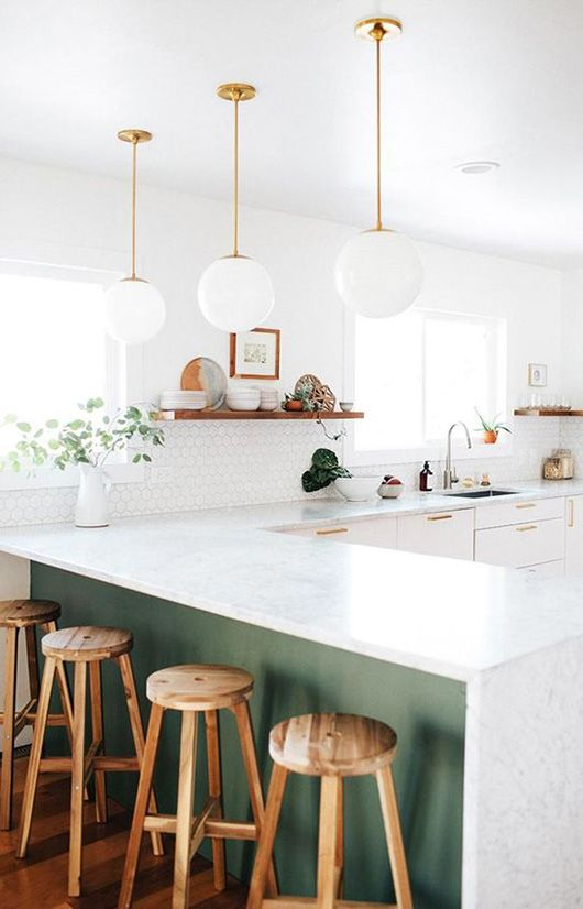 modern kitchen with schoolhouse electric pendant lamps via