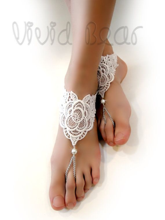 7db70e8cc Lace Barefoot Sandals. Foot Jewelry. White Pearl Beads. Silver Chain ...