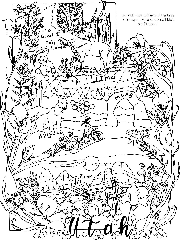Utah Coloring Utah Art Utah Coloring Page Salt Lake City Etsy In 2021 Cool Coloring Pages Coloring Pages Coloring Books