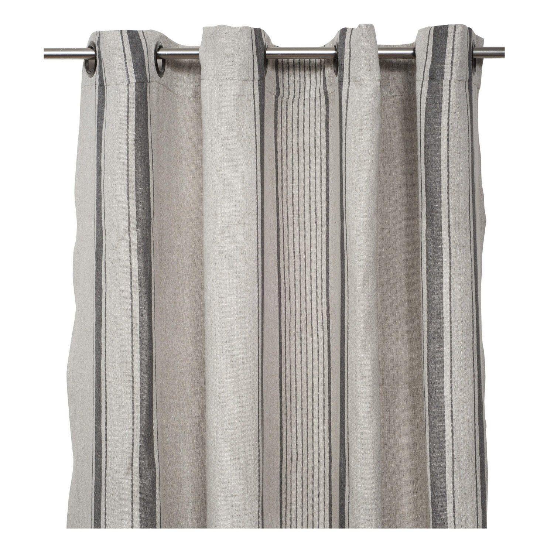 Couleur Lin Et Gris rideau tamisant, florence, lin et gris, l.140 x h.280 cm