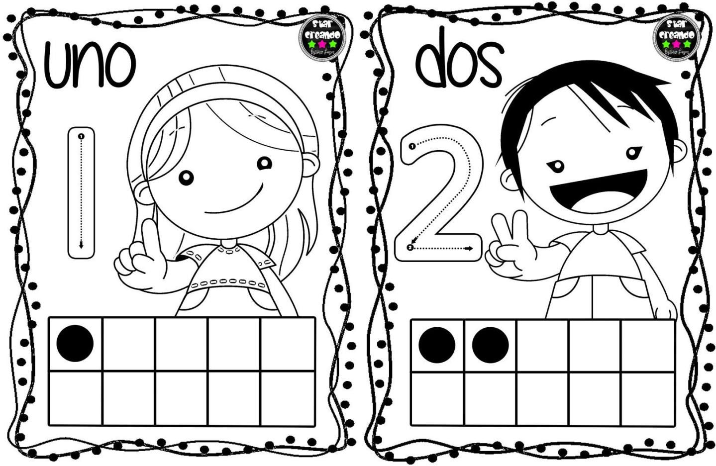Tarjetas Para Colorear Y Repasar Los Numeros Del 1 Al 10 Con