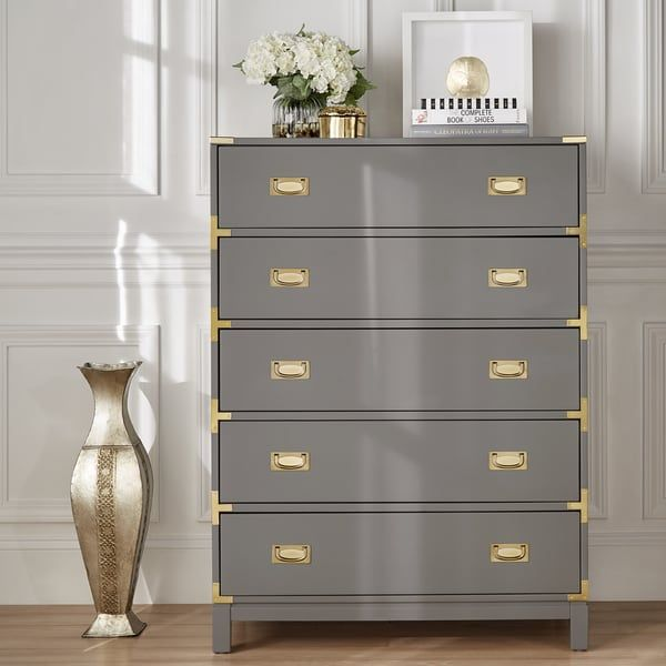 Kedric 5-Drawer Gold Accent Chest by iNSPIRE Q Bol