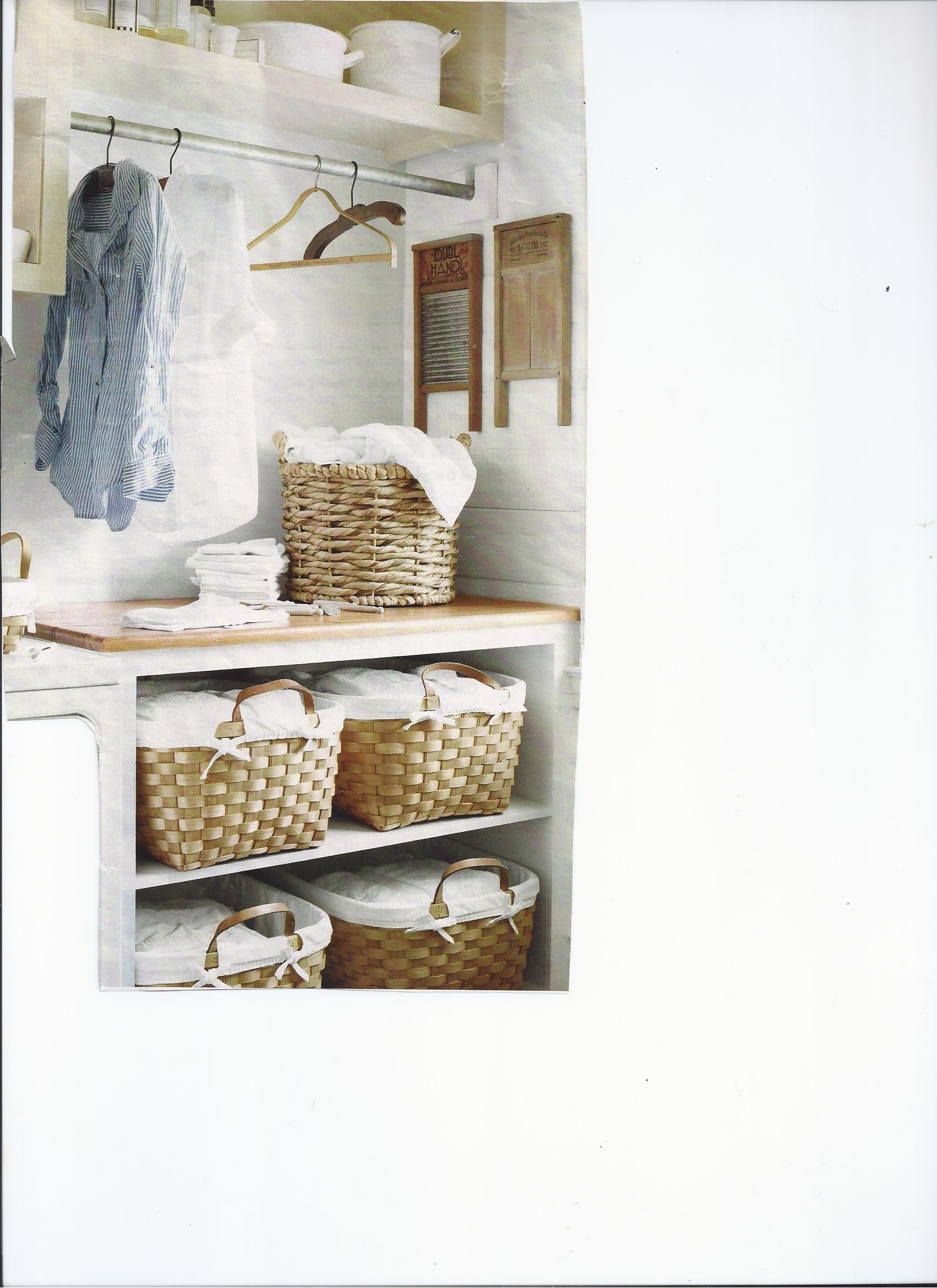 Baskets and bar to hand ironing
