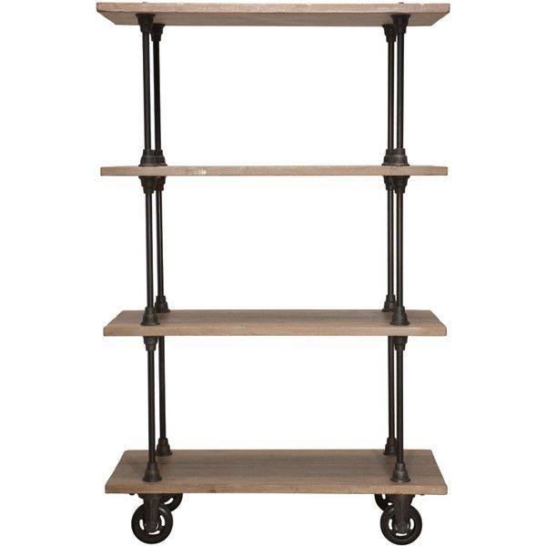 Allenby Industrial Weathered Oak 4 Shelf Rolling Bookcase - S found on Polyvore