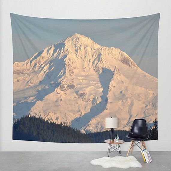 Wall Tapestry Mountain Wall Hanging Mt Hood Oregon Cascade Wall Tapestry Volcano Snow Wall Art Mount Hood Large Tapestry Wall Tapestry Large Tapestries