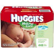 HUGGIES Natural Care Fragrance Free Baby Wipes, 448 sheets $11 at Walmart