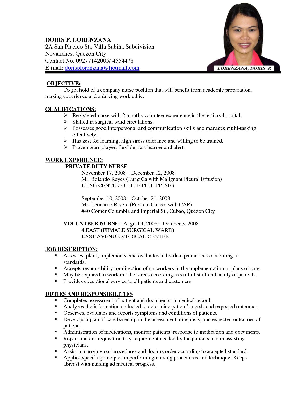 registered nurse sample resume philippines